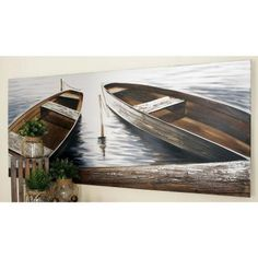 """Litton Lane 32 in. x 71 in. """"Boats by the Quay"""" Canvas Wall Art by Unknown Artist 53688 - The Home Depot Wooden Canoe, Lakefront Property, Lake Decor, Lake Cabins, Coastal Wall Art, House Wall, Coastal Style, Wall Art Decor, Canvas Wall Art"""