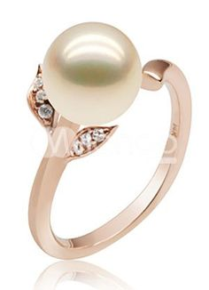 18K Rose Gold Pink Freshwater Pearl Ring For Women - Milanoo.com