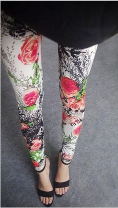 New Flower Printed Legging Fashion Sexy Women leggings Thin High Elastic Cotton Multiple Colors Sport Pants