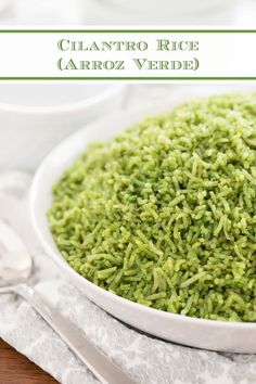 This beautiful-hued Cilantro Rice is a delicious alternative to plain rice. It will receive wow reviews every time you serve it! #cilantrorice #cincodemayo #bestmexicanrecipes Pasta Side Dishes, Side Dishes For Bbq, Potato Side Dishes, Dinner Dishes, Savoury Dishes, Seasoned Rice Recipes, Raw Food Recipes, Beef Recipes, Fun Recipes