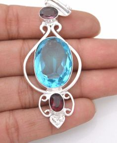 Blue Topaz-Amethyst+Red Quartz 925 Silver Plated Pendant Gifts For Everyone R153 #valueforbucks #Pendant