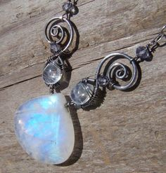 Full Moon Glow  Sterling Silver Necklace by wildsoulstudio on Etsy