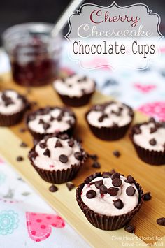Cherry Cheesecake Chocolate Cups - A light and creamy, cherry-infused, no-bake cheesecake filling is piped into cute, edible chocolate cups ...