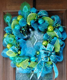 Perfect Peacock Christmas Wreath by MrsFielderCrafts on Etsy, $60.00