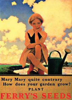 """""""Mary Mary quite contrary, How does your garden grow""""? PLANT FERRY'S SEEDS....Artist: Maxfield Parrish"""