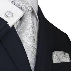 Landisun 21N Silver White Paisley Mens Silk Necktie Set: Tie Hanky Cufflinks: Clothing by french_violet