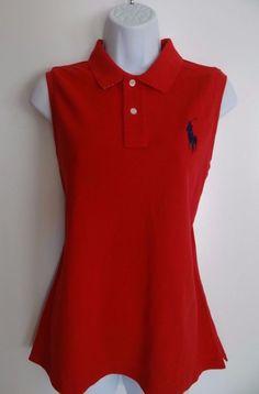 Ralph Lauren Sport Women's 100% Cotton Red Sleeveless Collar Top Shirt Size: XL #RalphLauren #SleevelessTop