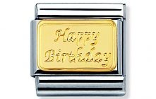 Nomination stainless steel and gold engraved Happy Birthday Classic Charm