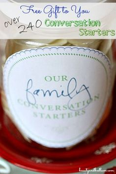 Amazing Family Dinner Tradition - Over 240 Conversations starters with free printable labels to make unique gifts.