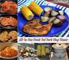 All-In-One Crock Pot Pork Chop Dinner: Pork Chops, Red Potatoes & Corn on the Cob, #crockpot #dinner