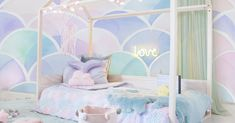 Perch Bunk Bed - TWIN-SIZE - - The pine House Bed - Single is every child's dream with its house-shaped canopy that will let the imagination soar. Big Girl Bedrooms, Little Girl Rooms, Girls Bedroom, Ocean Bedroom Kids, Little Mermaid Bedroom, Mermaid Room Decor, House Beds For Kids, Kid Beds, Kids Bedroom Ideas For Girls Toddler