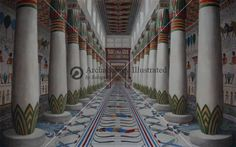 Reconstruction of the Royal Palace Interior at Malkata, Luxor West Bank, Throne Room Hallway of Amenhotep III.