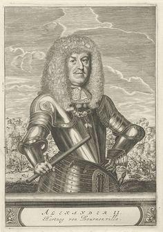 Christiaan Hagen | Portret van Alexander Hippolyte II, hertog van Bournonville, Christiaan Hagen, c. 1635 - 1695 | Portret ten halven lijve naar rechts van Alexander II, hertog van Bournonville, gekleed in een harnas. Om zijn hals het teken van de orde van het Gulden Vlies. In zijn rechterhand houdt hij een commandostaf. Op de achtergrond is een ruiterslag afgebeeld. Onder zijn portret een plint, waarop zijn naam en titel in twee regels in een cartouche.
