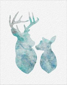 Deer Watercolor Art Print 8 x 10 Archival Deer Silhouette Watercolor Painting Print Wall Decor Home or Office, Children's Room on Etsy, $27.93 CAD