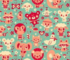 Cute Friends fabric by we_love_patterns on Spoonflower - custom fabric