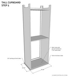 tall cupboard - buildsomething.com Diy Kitchen Storage Cabinet, Cupboard, Diy Furniture Building, Home Remodeling, Farmhouse Style, Basement, Honey, Shelves, How To Plan