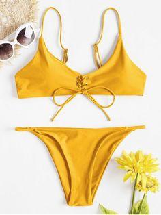 Product Front Lace-Up Thong Bikini Set available for Zaful WW, get it now ! Swimwear Model, Swimwear Sale, Swimwear Brands, Designer Swimwear, Swimwear Fashion, Yellow Bikini Set, Cute Bikinis, Thong Bikini, Bikini Swimsuit
