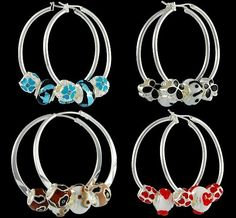 Delightful earrings with Pandora glass charms. Silver plated oval hoop earrings, fashion dichroic Murano glass beads, silver plated enamel coloful beads. Size mm. 35x40. Wholesale cheap Pandora charms can be combined very well with many types of Italian style jewelry.
