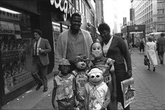 Teddy Ruxpin, Kermit, and friends trick-or-treating in the Loop. c. 1987-1988. Photograph by Thomas Arndt. ICHi-65906 #Chicago #Halloween #Costumes #Trick or Treat