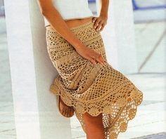 Falda de color Arena, patrón. Crochet skirt pattern.