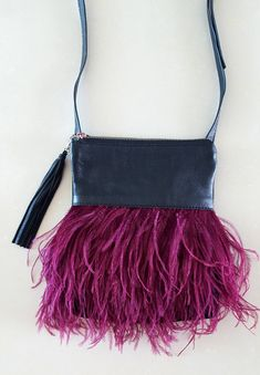 b0ec8b29880 Helen Handbag with Ostrich Feathers - Genuine Ostrich Feather, Real  Suede/Leather