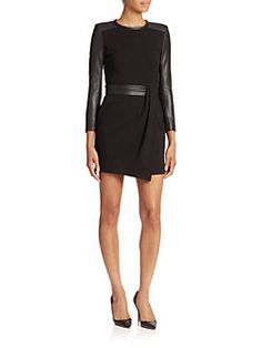 The Kooples - Hopla Leather-Trimmed Stretch Dress