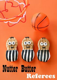 Make the right call with this quick treat for March Madness. Nutter Butter Referees are cookies are dipped in white chocolate and dressed up as referees.  the-girl-who-ate-everything.com