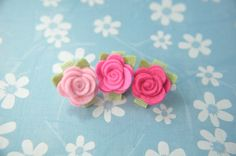 Tiny Wool Felt Flower Clips  Set of 3 Pink by SweetPumpkinDesigns, $7.50