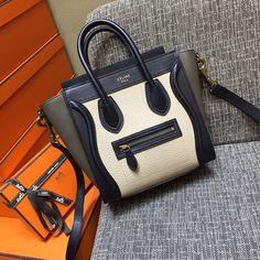 Celine white Tricolor nano bag in White/Black/Olive