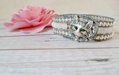 Boho Cat Bracelet, Cat Bracelet, Beaded Cat Cuff, Cat Jewelry, Cat Lover Gift, Beaded Cat Cuff, Cat, Bohemian Bracelet, Gift for Her by ArKaysCreations on Etsy
