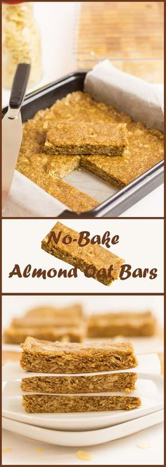 Crammed full of healthy wholegrain oats, almonds, almond butter and honey. These simple, easy no-bake almond oat bars are a guaranteed energy boost just when you need it most. Healthy Bars, Healthy Treats, Healthy Baking, Healthy Desserts, Easy Desserts, Dessert Recipes, Healthy Cereal Bars, Simple Healthy Snacks, Healthy Recipes