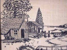 Vintage Embroidery, Wall Hanging, 1980s, Blackwork, Linen, Boat, Seaside, Cottage, Nautical Theme