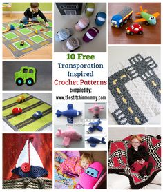 10 Free Transporation-Inspired Crochet Patterns compiled by The Stitchin' Mommy | http://www.thestitchinmommy.com