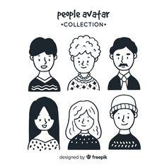 Hand drawn people avatar pack Free Vector Face Illustration, People Illustration, Character Illustration, Drawing Cartoon Faces, Cute Drawings, Face Doodles, Design Plat, Doodle People, Doodle Characters