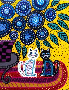 Kerri Ambrosino Mexican Folk Art PRINT Best Friends Flowers and Cats on Etsy, $20.00