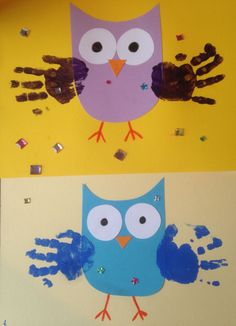 Owls with handprint wings - Owls with handprint wings - Daycare Crafts, Classroom Crafts, Toddler Crafts, Preschool Crafts, Fall Arts And Crafts, Autumn Crafts, Diy And Crafts, Owl Crafts, Animal Crafts