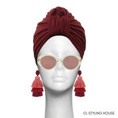 Handcrafted lined CL Maroon Strech Suede Stella Turban. Baby Turban, Turban Style, Headbands, Round Sunglasses, Chic Fashionista, Glamour, Turbans, Luxury, Stylish