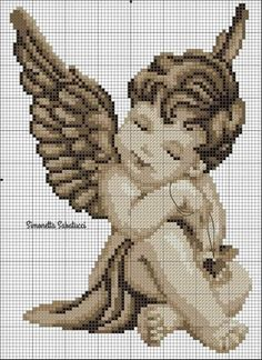 Cross Stitch Angels, Cross Stitch Charts, Cross Stitch Patterns, Diy Embroidery, Cross Stitch Embroidery, Frozen Cross Stitch, Sewing Cards, Crochet Angels, Art Drawings Sketches Simple