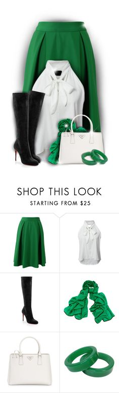 """Pop of Green"" by rainbowroad96 ❤ liked on Polyvore featuring Chicwish, WithChic, Christian Louboutin, Black and Prada"