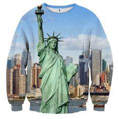 USA New York Statue of Liberty Cool Winter Sweatshirt #USA #NewYork #StatueofLiberty #Cool #Winter #Sweatshirt
