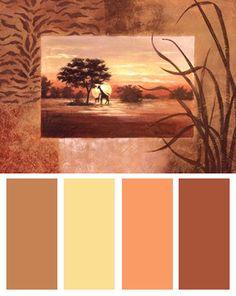 African Landscape Color Palette (African Giraffe art print by Vivian Flasch)