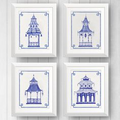 Preppy Art, Blue and White Decor, Pagoda Painting, Chinoiserie Art, Ginger Jar, Chinese Lantern, Asian Art, Blue Pagodas, Palm Beach Style by shelbydillon on Etsy https://www.etsy.com/listing/398862679/preppy-art-blue-and-white-decor-pagoda