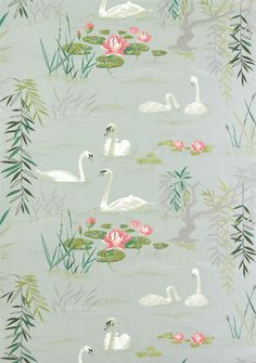 Buy Nina Campbell Sylvana Swan Lake Fabric online, we supply the full range of Nina Campbell Fabric and Wallpaper direct to your door. Swan Wallpaper, Osborne And Little Wallpaper, Fabric Wallpaper, Seaside Wallpaper, 1950s Wallpaper, Vintage Wallpaper Patterns, Bedroom Wallpaper, Designer Wallpaper, Textures Patterns