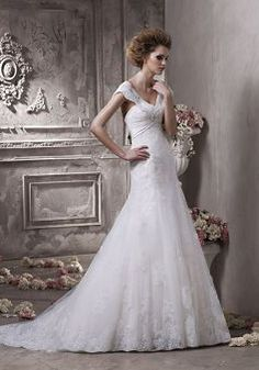 Tulle & Lace V Neck A line Sleeveless Zipper Back Floor Length Wedding Dresses