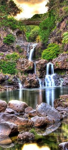 'Oheo Twilight, Kipahulu, Maui by Randy Jay Braun. We visit here every time we go to Maui. Beautiful Waterfalls, Beautiful Landscapes, Places To Travel, Places To See, Camping Places, Travel Destinations, Places Around The World, Around The Worlds, Beau Site