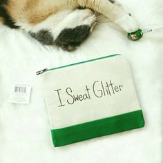 HPI sweat glitter green & oatmeal canvas pouch Host Pick NWT I Sweat Glitter phrase zippered pouch in heathered beige/oatmeal & green. Brand new, perfect condition. Use as a clutch, makeup bag, or fill with whatever sparkly things you find important. We don't just sweat, we sparkle. <3 Bags Clutches & Wristlets