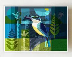 Horizontal New Zealand Kingfisher print by Ellen Giggenbach Costa, New Zealand Art, Nz Art, Create Image, Bird Art, Disney Art, Illustrators, Colorful Backgrounds, Modern Art