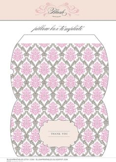 Create your own designer look right from your home computer! These posh printable pillow boxes are great for wedding favors, small gifts and other packaging. Print only as many as you need.  www.etsy.com/shop/blushprintables www.blushprintables.blogspot.com