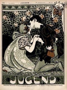 From Art Nouveau magazine die Jugend April 1899 Art And Illustration, Illustrations, Retro Poster, Vintage Posters, Vintage Art, Vintage Magazine, Magazine Art, Magazine Covers, Design Graphique