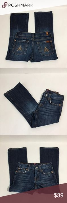 Girls 7 For All Mankind A Pocket Dark Wash Jeans 5 Girls 7 For All Mankind A pocket dark wash bootcut jeans. Size 5 excellent condition no flaws 7 For All Mankind Bottoms Jeans